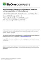 Monitoring nest box use by cavity-nesting ducks on acid-stressed lakes in Ontario, Canada